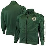 Men's Majestic Hunter Green Milwaukee Bucks Big & Tall Sleeve Taping Full-Zip Track Jacket