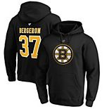 Men's Fanatics Branded Patrice Bergeron Black Boston Bruins Authentic Stack Player Name & Number Pullover Hoodie
