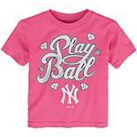 Toddler Pink New York Yankees Ball Girl T-Shirt