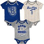 Infant Royal/Heathered Charcoal/Cream Los Angeles Dodgers Future Number One Creeper Three-Pack