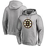 Men's Fanatics Branded Heathered Gray Boston Bruins Primary Team Logo Fleece Pullover Hoodie
