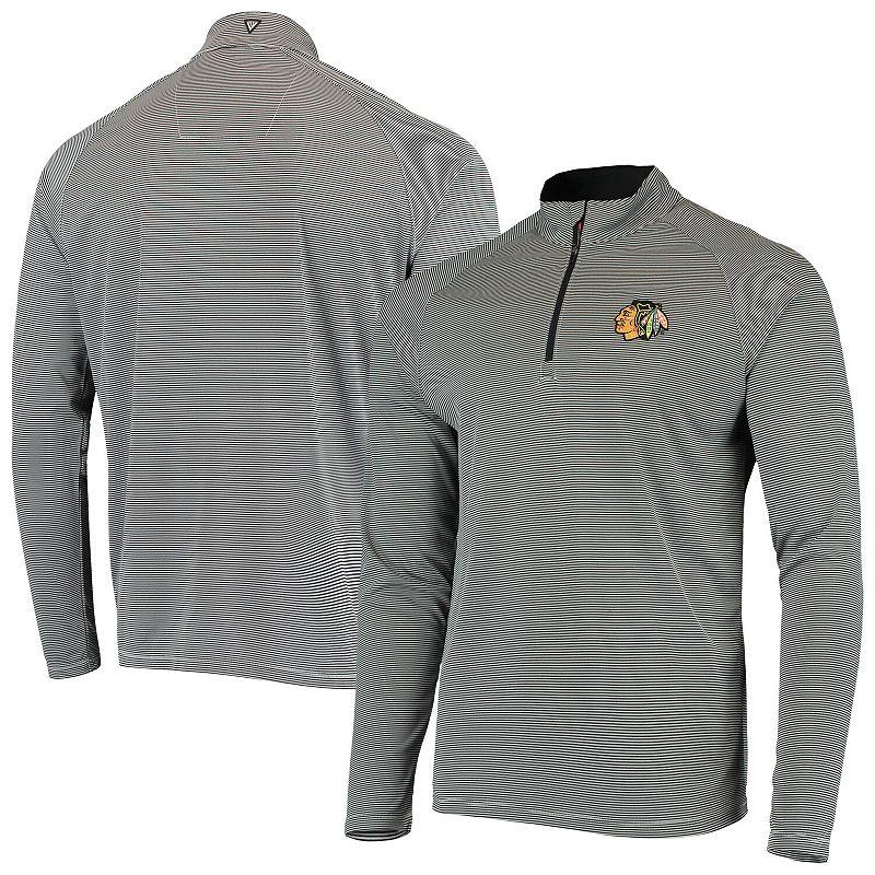 Men's Levelwear Black/Gray Chicago Blackhawks Orion Raglan Quarter-Zip Pullover Jacket, Size: Medium