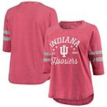 Women's Pressbox Heathered Crimson Indiana Hoosiers Plus Size Jade Vintage Washed 3/4-Sleeve Jersey T-Shirt