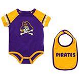 Newborn & Infant Colosseum Purple ECU Pirates Warner Bib & Bodysuit Set