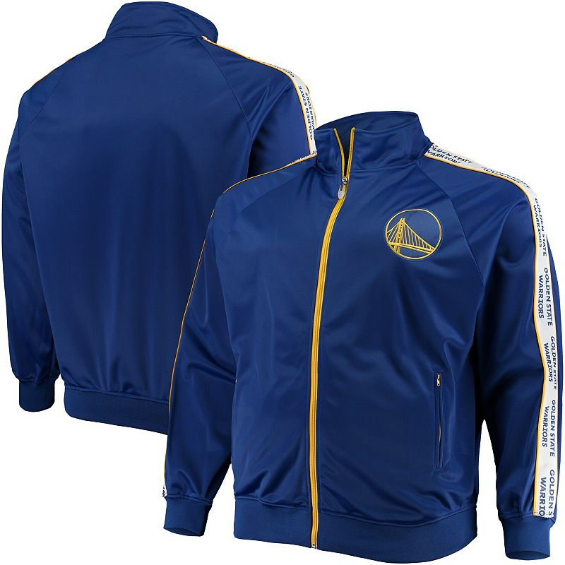 Men's Majestic Royal Golden State Warriors Big & Tall Sleeve Taping Full-Zip Track Jacket, Size: 2XLT, Blue