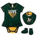 Girls Newborn & Infant Green Oakland Athletics Play Your Best Bodysuit, Bib & Booties Set