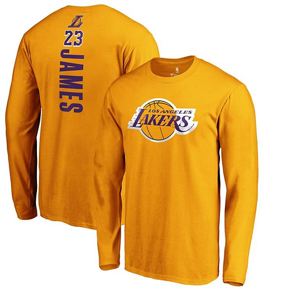 Men's Fanatics Branded LeBron James Gold Los Angeles Lakers Team Playmaker Name & Number Long Sleeve T-Shirt