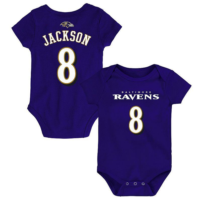 Newborn Lamar Jackson Purple Baltimore Ravens Mainliner Name & Number Bodysuit, Infant Unisex, Size: 3-6 Months