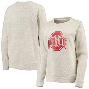 Women's Oatmeal Ohio State Buckeyes Reverse French Terry Pullover Sweatshirt