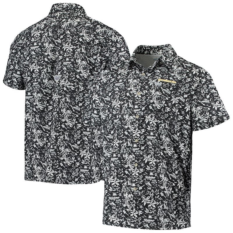Men's Columbia Black Purdue Boilermakers Super Slack Tide Button-Up Shirt, Size: XL