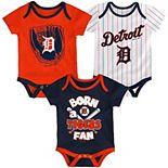 Newborn & Infant Navy/Orange/White Detroit Tigers Future Number One 3-Pack Bodysuit Set