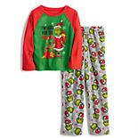 Jammies For Your Families® Boys 4-12 Dr. Seuss' How The Grinch Stole Christmas Grinchmas Top & Bottoms Pajama Set