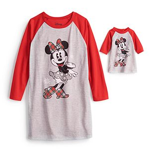 Disney's Minnie Mouse Girls 4-10 Plaid Nightgown & Matching Doll Gown by Jammies For Your Families®