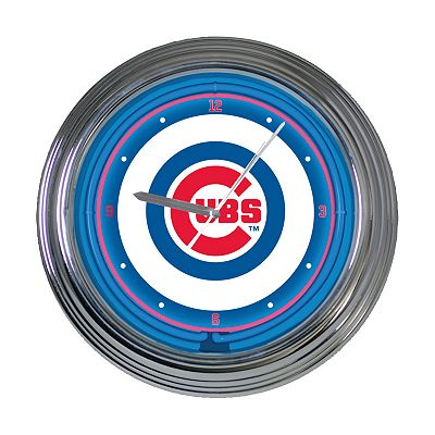 Chicago Cubs Neon Wall Clock