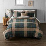 Cuddl Duds Blue Green Tartan Heavyweight Flannel Comforter Set