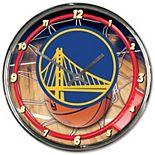 """WinCraft Golden State Warriors 12"""" Round Chrome Clock"""