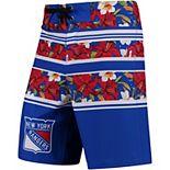 Men's Blue New York Rangers Floral Stripe Boardshorts