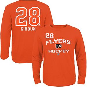 Youth Philadelphia Flyers Claude Giroux Reebok Orange Center Ice Locker Status Name & Number Long-Sleeve T-Shirt