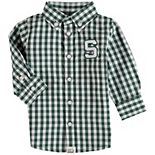 Infant Green Michigan State Spartans Logan Gingham Button-Down Long Sleeve Shirt