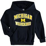 Youth Champion® Navy Michigan Wolverines Powerblend Pullover Hoodie