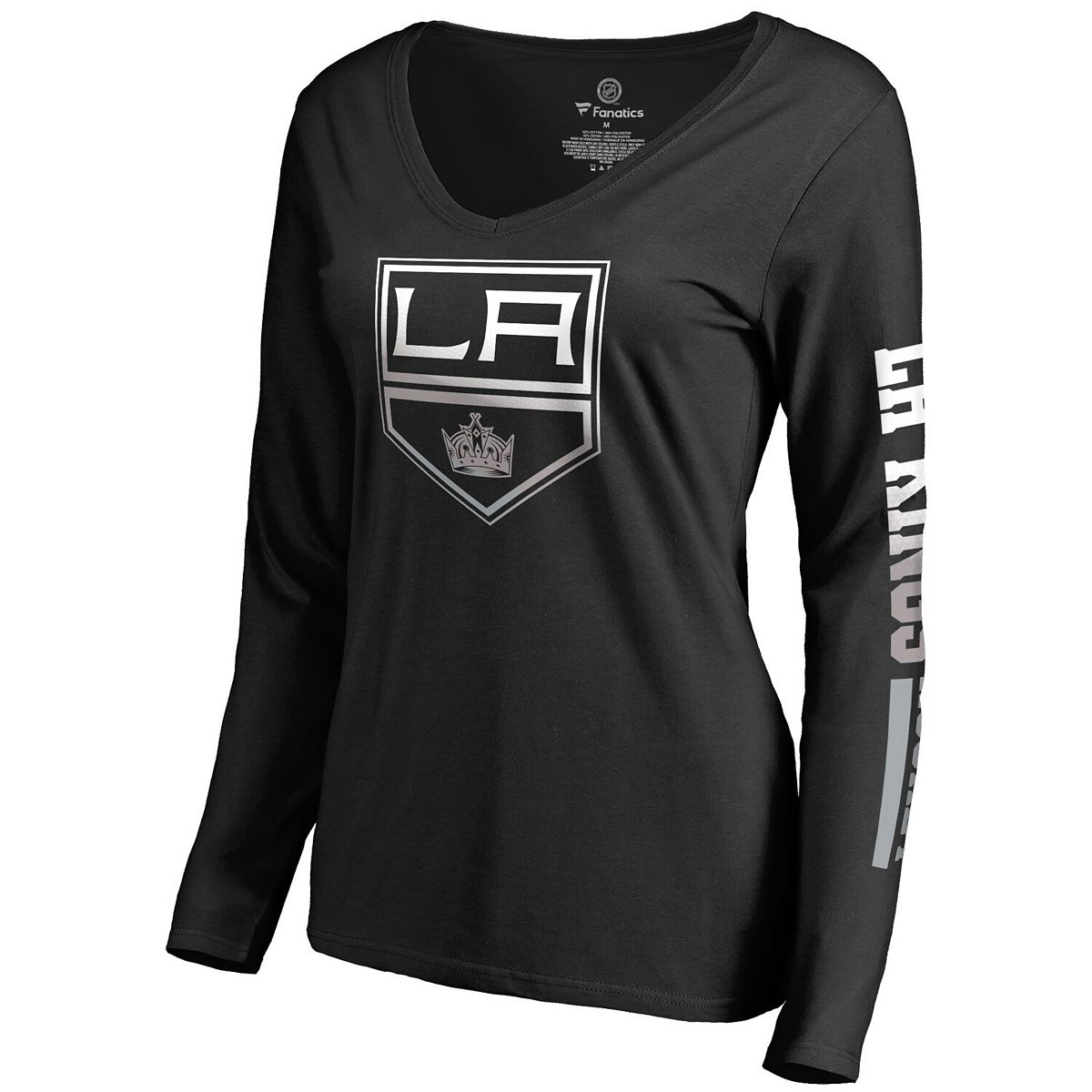 Women's Fanatics Branded Black Los Angeles Kings Gradient Logo Long Sleeve V-Neck T-Shirt jK7X5