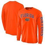 Men's Fanatics Branded Orange Florida Gators Distressed Arch Over Logo Long Sleeve Hit T-Shirt