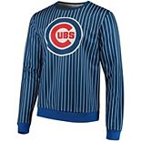 Men's Royal Chicago Cubs Pinstripe Crew Neck Pullover