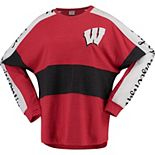 Women's Red Wisconsin Badgers Aileron Oversized Long-Sleeve Top