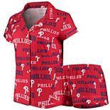 Women's Concepts Sport Red Philadelphia Phillies Fairway Shirt & Shorts Sleep Set