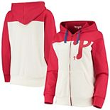 Women's Touch Oatmeal/Red Philadelphia Phillies Conference Full-Zip Hoodie