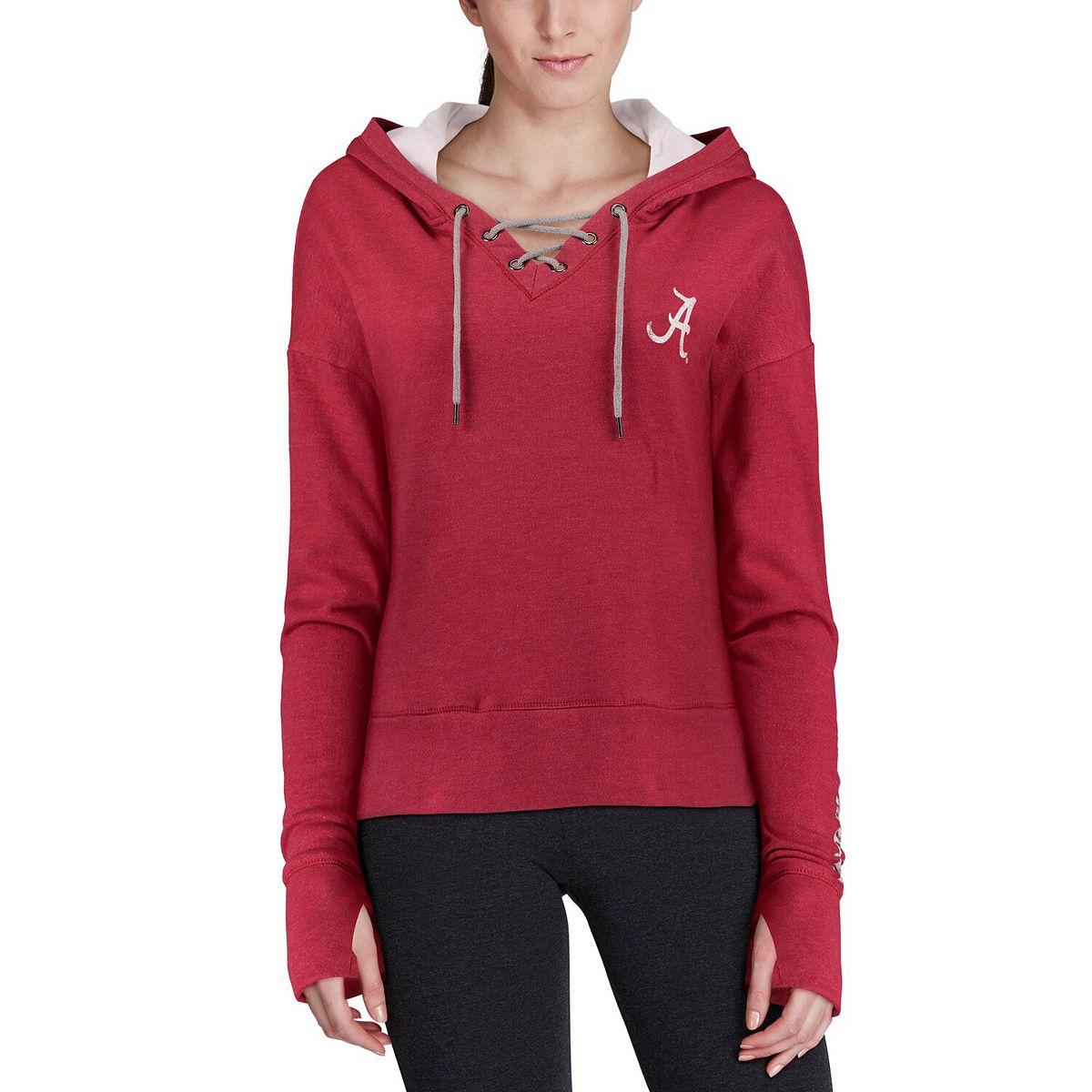 Women's Colosseum Crimson Alabama Crimson Tide Rhymes Lace-Up Pullover V-Neck Hoodie 8i1KZ