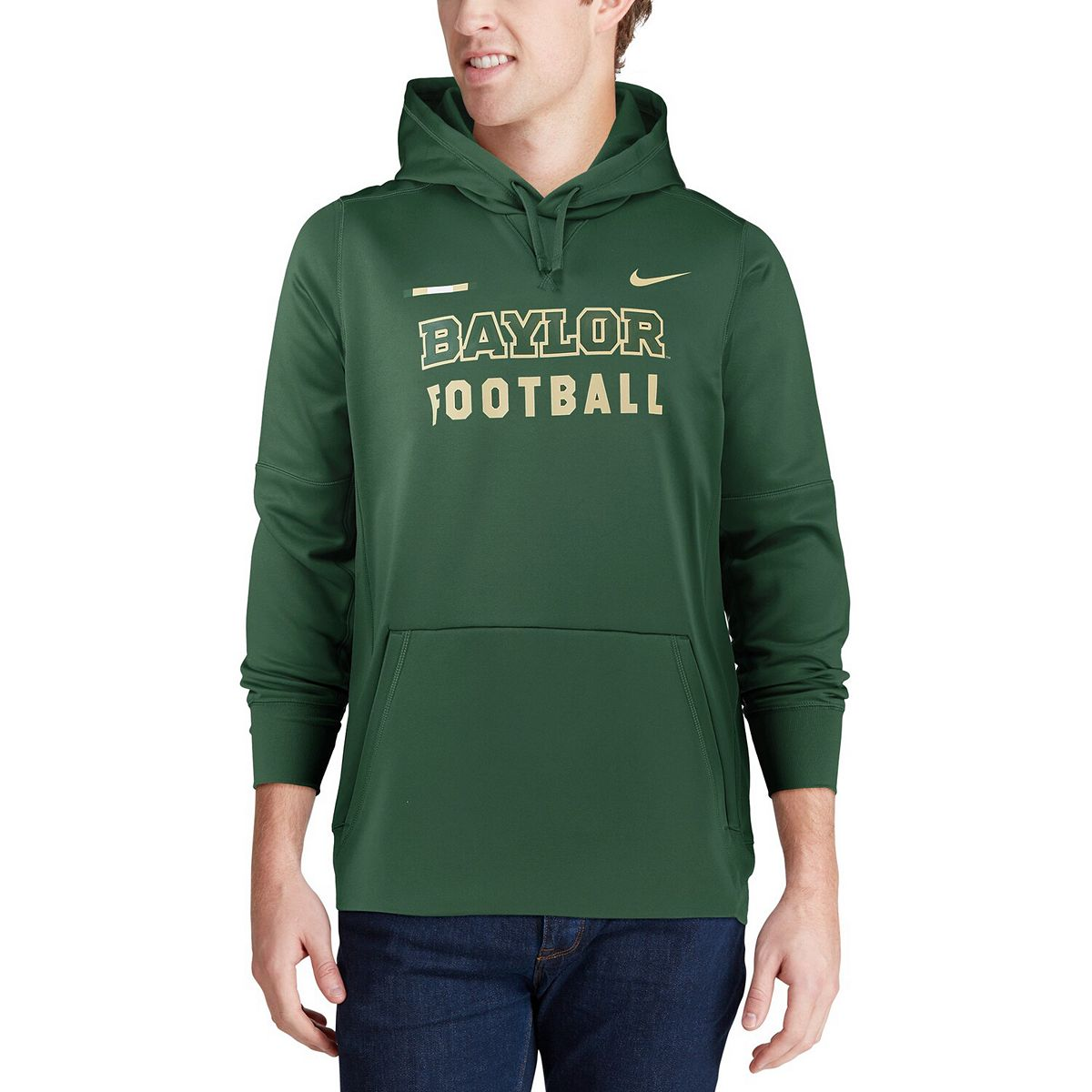 Men's Nike Green Baylor Bears 2017 Sideline Football DNA Circuit Therma Performance Pullover Hoodie ZHTXT