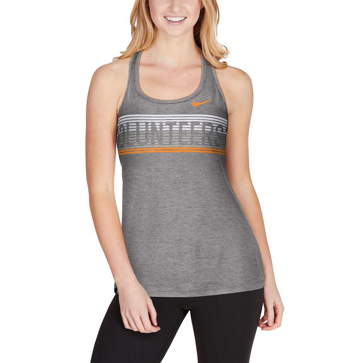 Women's Nike Gray Tennessee Volunteers Touch Performance Racerback Tank Top bPVkC