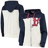 Women's Touch Oatmeal/Navy Boston Red Sox Conference Full-Zip Hoodie
