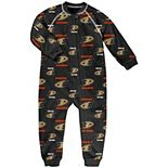 Toddler Black Anaheim Ducks Team Print Raglan Sleeve Full-Zip Jumper Pajamas