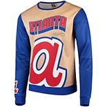 Men's Tan/Navy Atlanta Braves Sublimated Crew Neck Sweater