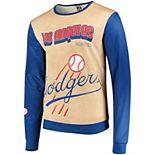 Men's Tan/Royal Los Angeles Dodgers Sublimated Crew Neck Sweater