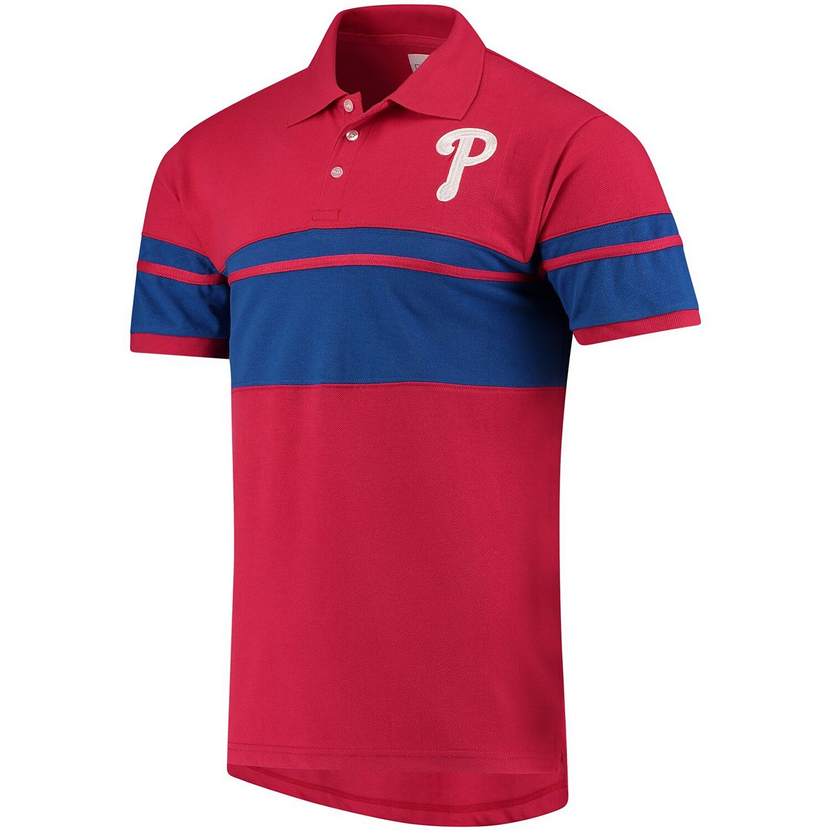 Men's Red/Royal Philadelphia Phillies Cotton Stripe Polo hBKOr