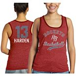 Women's Majestic Threads James Harden Red Houston Rockets Name & Number Tri-Blend Tank Top