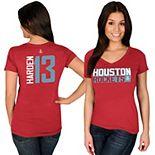 Women's Majestic James Harden Red Houston Rockets Name & Number V-Neck T-Shirt
