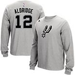 Men's adidas LaMarcus Aldridge Gray San Antonio Spurs Name and Number Long Sleeve T-Shirt