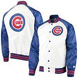 Men's Starter White/Royal Chicago Cubs Clean-Up Hitter Full-Snap Jacket