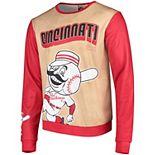 Men's Tan/Red Cincinnati Reds Sublimated Crew Neck Sweater