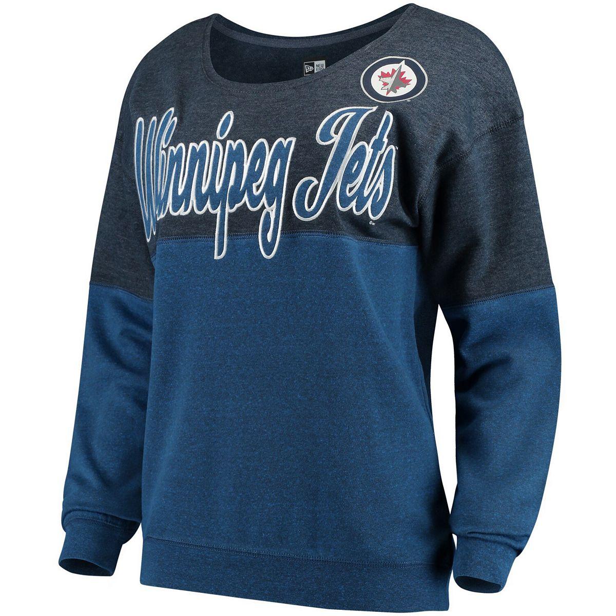 Women's 5th & Ocean by New Era Navy/Blue Winnipeg Jets Tri-Blend Fleece Scoop Neck Pullover Sweatshirt EEk2r