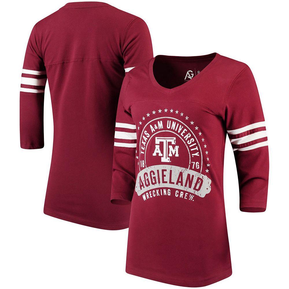 Women's Alta Gracia (Fair Trade) Maroon Texas A&M Aggies Tide Lulu Striped Football 3/4-Sleeve T-Shirt