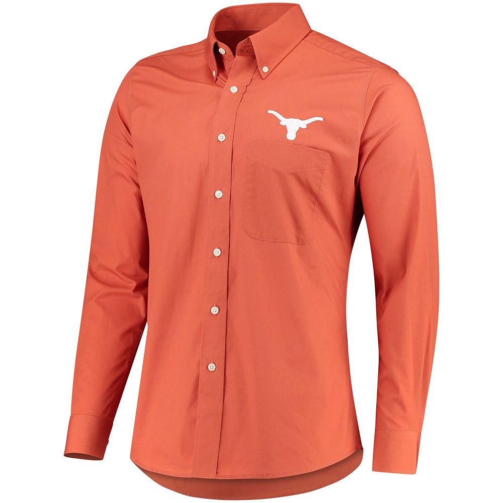 Men's Antigua Texas Orange Texas Longhorns Dynasty Long Sleeve Button Down Shirt