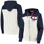 Women's Touch Oatmeal/Navy Minnesota Twins Conference Full-Zip Hoodie