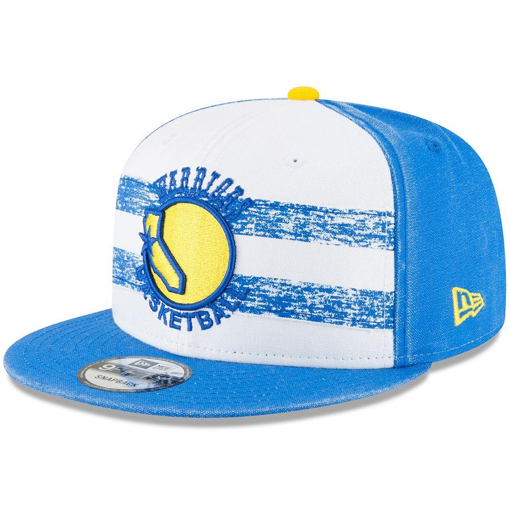 Men's New Era White/Royal Golden State Warriors Hardwood Classics Nights 4 9FIFTY Adjustable Snapback Hat