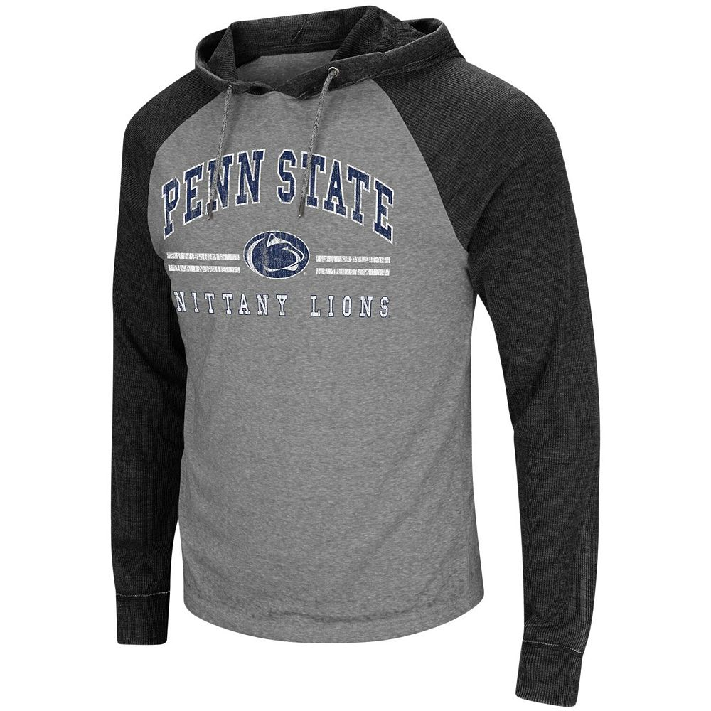 Men's Colosseum Heathered Gray Penn State Nittany Lions Big & Tall Personal Flair Long Sleeve Hoodie T-Shirt