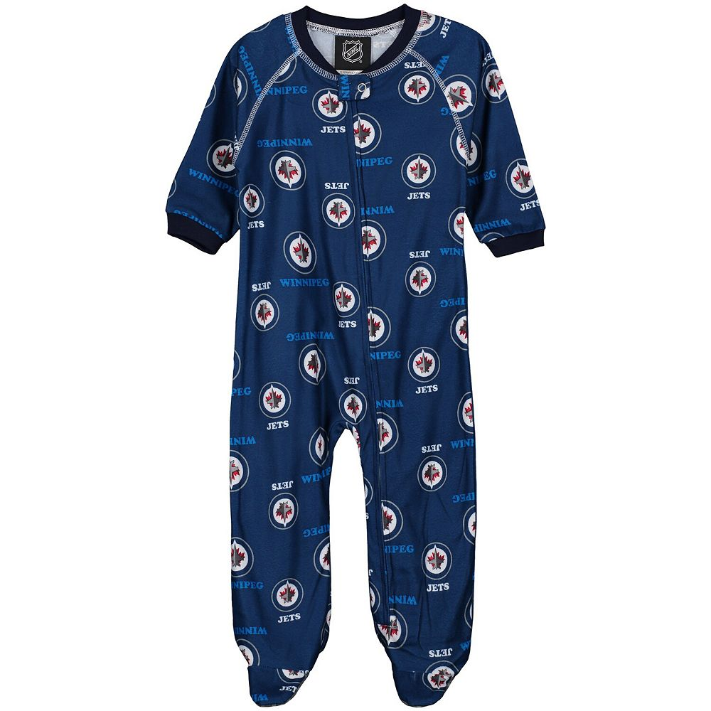 Infant Blue Winnipeg Jets All Over Raglan Sleeper
